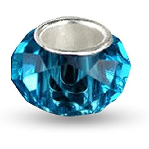 Sterling Silver, marzo Birthstone e Pesci Zodiac, Aquamarine blu sfaccettato europeo Vetro di Murano Charm Bead, Adatto braccialetto, pendente, collana