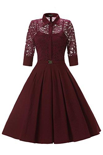 Gigileer Elegant Damen Kleider Spitzenkleid Cocktailkleid Winter Knielanges 3/4 Arm festlich hochzeit Burgundy XXL (Kleid Plissee Satin)