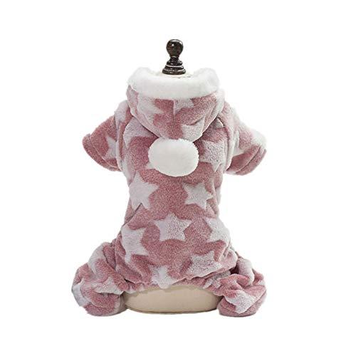 NAttnJf Reizende Sterne gedruckt korallenroter Samt weiche warme Hundekatze mit Kapuze Winter-Haustier-Kleidung Rosa S