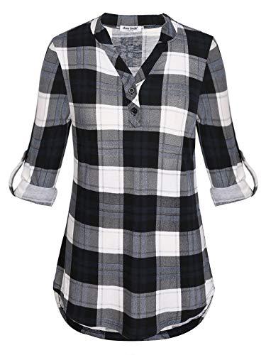 Anna Smith Vneck Túnica Tops para Mujer A Cuadros con Botones Abajo 3/4 Camiseta de Manga Larga Camisa de Las señoras Blusas Cómoda Henley Relajado Ropa Dobladillo Curvado Vestidos Elegantes Negro L