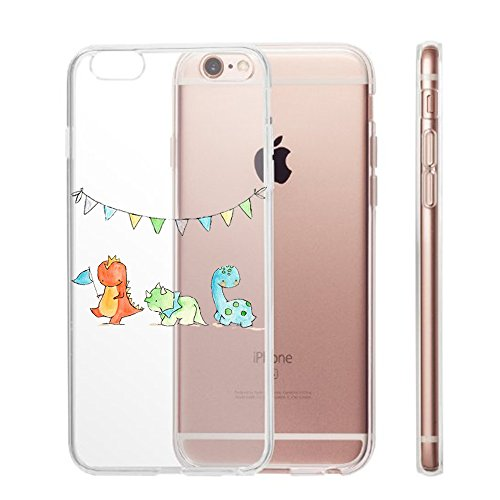 Qissy® TPU Cover iPhone 6 / 6S 4.7 pollici Custodia Bumper Morbida Crystal Clear TPU Silicone blue Elephant 15