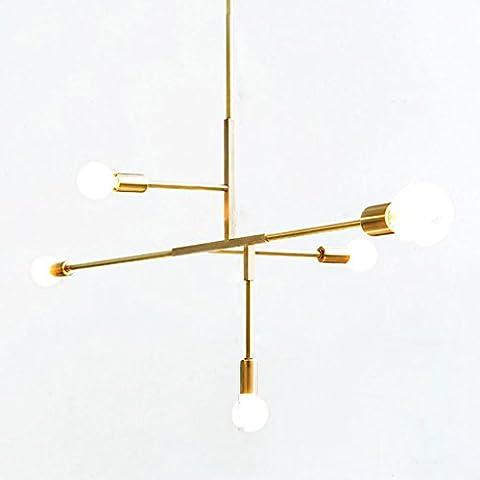 Modern Einfach Deckenleuchte Mode Kreuz Dsign Eisen Deckenlampe Gold 5 Lichter Hängende Beleuchtung zum Kleidung Geschäft Cafe Schlafzimmer Restaurant Bar, D103 * H98CM, E27, 5 * MAX60W