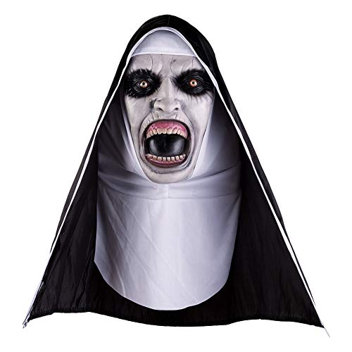 Yalatan Halloween Horror Latex Nonne Maske, Vollgesichtsbedeckt Mit Kopftuch Für Erwachsene Und Kinder Cosplay Streich Requisiten