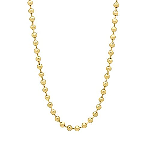 3mm 14k Gold Plated Ball Chain Necklace, 45.5 cm