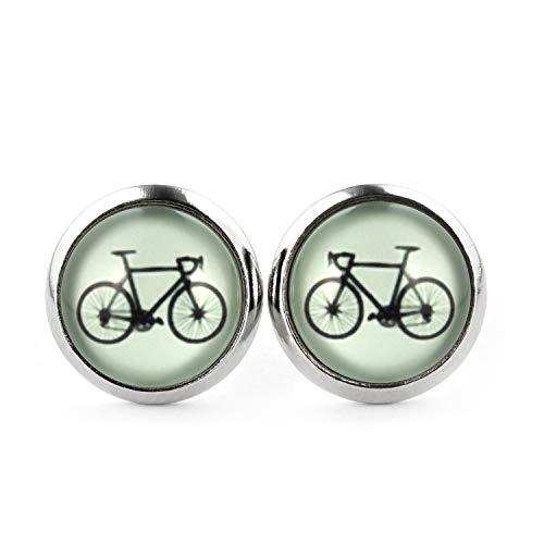 SCHMUCKZUCKER Damen Ohrstecker Motiv Fahrrad Edelstahl Ohrringe Silber Llind-Grün 12mm -