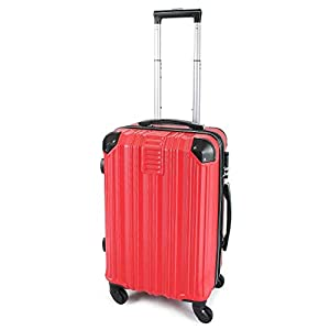 Todeco – Carry On Suitcase, Cabin Luggage, Tamaño (Ruedas Incluidas): 56 x 38 x 22 cm, Tipo de Ruedas: 4 Ruedas de rotación de 360 °, Llevar-en 51 cm, Rojo, ABS, Protected Corners, Sistema de Bloqueo