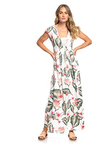 Roxy A Day at Tribeca Robe Longue sans Manches Femme, Marshmallow Tropical Love, FR : S (Taille Fabricant : Small)