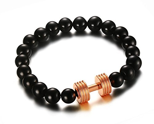vnox-mens-womens-black-agate-beads-rose-gold-barbell-dumbell-charm-stretch-bracelet-bodybuilding-fit