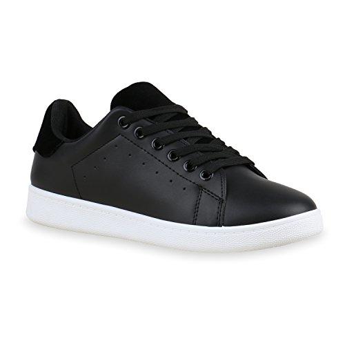 Damen Sneakers | Sneaker Low Metallic Cap | Sportschuhe Leder-Optik Glitzer | Freizeit Schnürer Prints Samt | Trainers Allyear Schwarz Schwarz Total