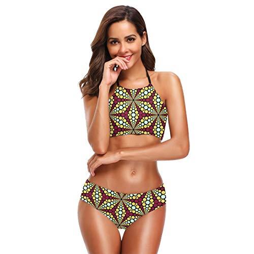 Womens Fashion Printing Bikini Set Mandala Scaly Toes High Neck Halter Swimsuit