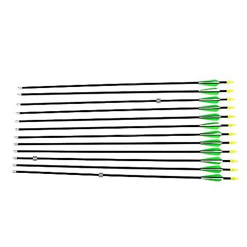 12Pcs Green Hunting Arrow Hunter Nocks Fletched Arrows Fiberglass Target Practice Arrow 30