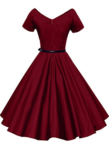 Gigileer Damen Vintage V-Ausschnitt Schwingen Rockabilly Ballkleid Kleider Cocktailkleid Burgundy S -