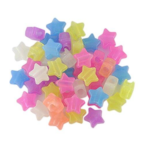 Plastic Beads - Pack de 100 abalorios mixtos que brillan en...