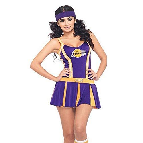 MCO%SISTSR Cheerleader-Kostüm,Mädchen Cheerleading Einheitliche Sexy High School Musik Kostüm Sport Wettbewerb Tanz Leistung,Lila,Eine ()