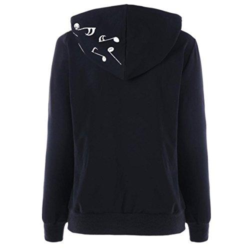 Blouse de Noël pour femme,Bellelove Mesdames Lettre décontractée Imprimer haut pull à manches longues à capuche Sweatshirts chaude manteau pour la partie des vêtement Noir 3