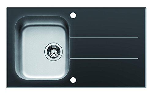 Pyramis 109501230 CONCERTO (86X50) 1B 1D S Einbauspüle Schwarzes Glas mit Facettenschliff, Edelstahlbecken 86 x 50 cm