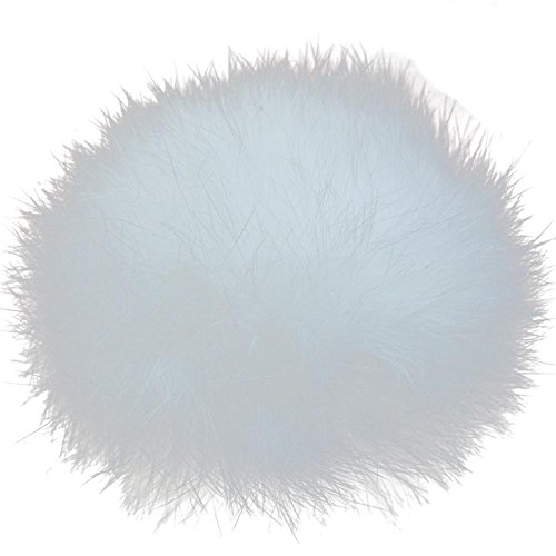 Pom Weiße Keychain Pom (8cm echtem Kaninchen Fell Zeitgemäß Mobile Gurt Pom Pom Schlüsselanhänger Tasche Charm Kaninchen Pelz Ball, weiß)