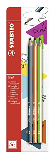 Stabilo trio matita in grafite 2b petrolio/arancio/verde - blister da 3, 3 pezzi