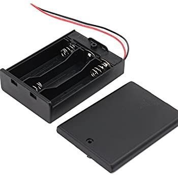KEESIN AA 4.5V Battery holder case plastic battery storage box with ON / OFF switch and Fastening cable Ties (3 Solts*5 PCS)