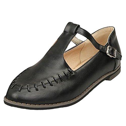 Mee Shoes Damen populär bequem amtungsaktiv flach Geschlossen Schnalle ankle strap Pumps Freizeitschuhe Schwarz