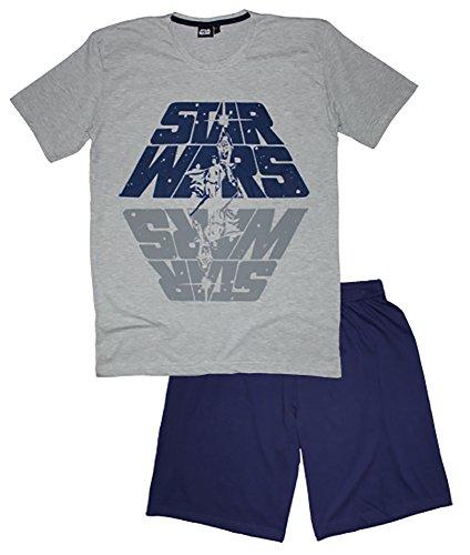 Disney Männer Star Wars Kurzes Pj's Pyjama Set Nachtwäsche (M, Grau) (Pj Kurze Set)