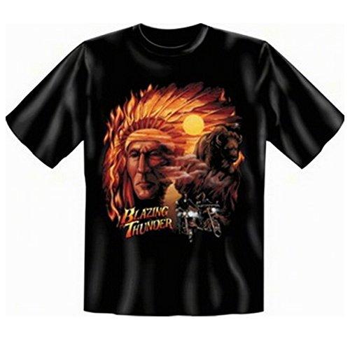 Buffalo Indianer Tshirt Blazing thunder Fb schwarz Größe 5XL (Buffalo T-shirt Damen)