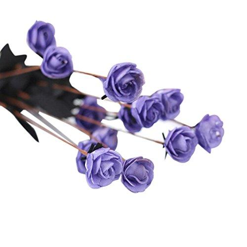 Mitlfuny Unechte Blumen,Künstliche Deko Blumen Gefälschte Blumen Seidenrosen Plastik Köpfe Braut Hochzeitsblumenstrauß für Haus Garten Pfingstrose Floral künstliche Seide Fake Flowers Wedding Bouquet Bridal Hortensie Dekor 6 Farbenr (Lila) - Silk Lila Flower Bouquet