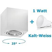 Lampada da soffitto aufbau lampada da soffitto plafoniera AUFPUTZ Palermo 1W bianco freddo–FARETTO CON LED SMD cubi/rotondo Qube Downlight, OH.37 Silber 1W KW, GU10 1.0 watts 230.00 volts