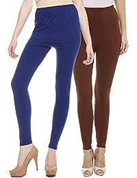 Sakhi Sang Leggings Pack of 2 : Royal Blue & Chocolate Brown