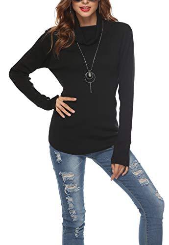 SIRUITON Damen Pullover Elegant, Strickpullover Damen Rollkragen Pulli Damen Sweater Women Schwarz M