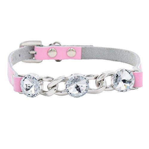 Generisches Hundehalsband Halsbänder Echt Soft Leder mit Groß Strass XS S für Kleine Hunde Welpen Chihuahua Yorkie Art Rot Pink Schwarz Blau Wählbar, Pink XS -