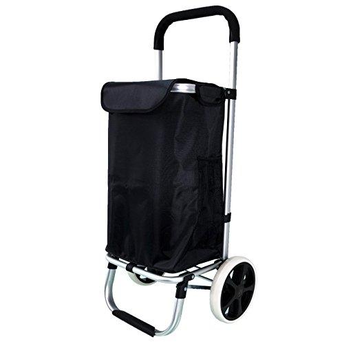 QTC ALU Einkaufstrolley Korb Trolley klappbar Einkaufstasche Einkaufswagen Shopper (Schwarz)