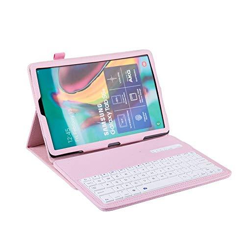 JShisxnuid Tastatur Hülle für Samsung Galaxy Tab A 10.1 2019 T510 T515 hülle - Ultradünn leicht Schutzhülle mit Ständer Features, mit magnetisch Abnehmbarer Drahtloser Deutscher Tastatur (Rosa)