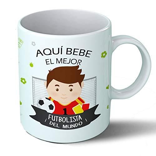 Planetacase Taza Desayuno Aquí Bebe el Mejor fubolista del Mundo Regalo Original fútbol Ceramica 330 mL