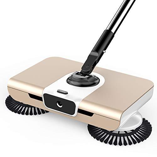 Spinning Cordless Push-Power Besen 3 in 1, Spin Dust Mop, Mit Licht, 360 Broom Sweeper Kein Strom oder Batterien, Besen und Kehrblech,Gold