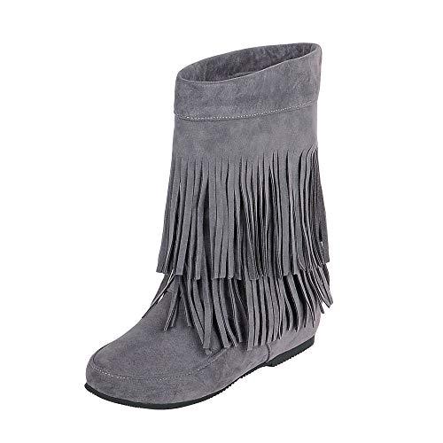 QINGMM Frauen Wildleder Fransen Stiefel 2018 Herbst Flache Mode Booties,Grau,34 EU