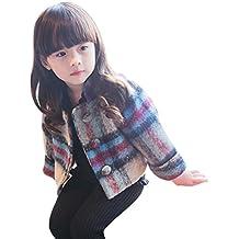 Envío Gratis Bebé invierno chaqueta ,Yannerr niños Chica capa ropa gruesa lana Cuadros abrigo caliente