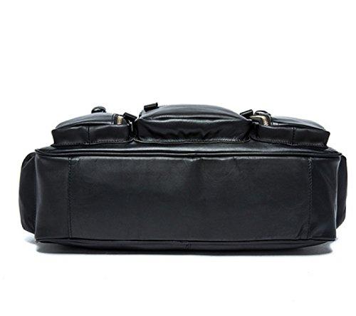 LAIDAYE Hochwertige Handgefertigte Taschen 100% Leder Herren Aktenkoffer Rucksack Reisetasche Laptop Tasche Messenger Pack Coffee
