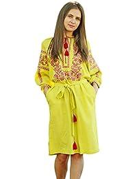 Bordado Vestido Largo Verde Lima Para Mujer. vyshyvanka. Ucrania bordar vestido