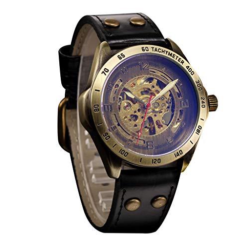 OPALLEY Herren Hollow Steampunk Uhr Leder Retro Automatik Digital Mechanik Uhr Business Fashion Classic No Need Batterie Armbanduhr-2019 -