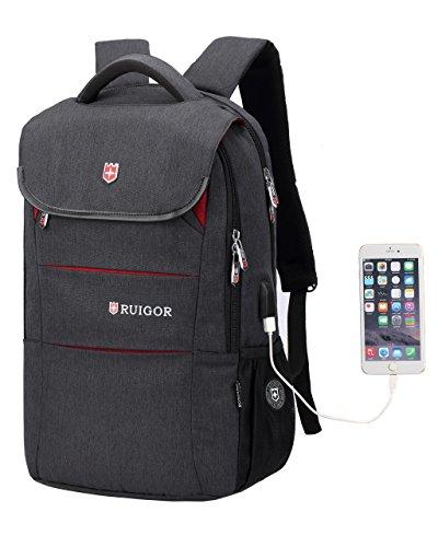 Ruigor RG6164 - Multifunktionaler Tagesrucksack 27l wasserabweisend Laptop Tasche 15,6 Zoll mit Antidiebstahlfach, USB- und Kopfhörer-Port schwarz