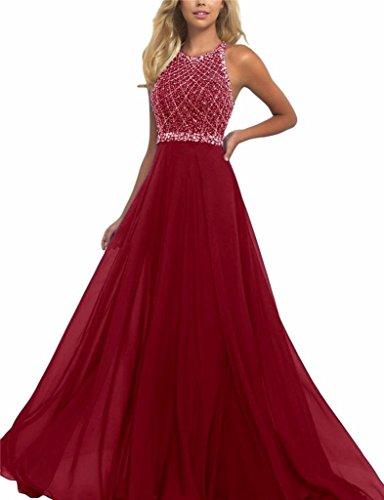 Changjie Damen R¨¹ckenfrei Langes Kleid Abendkleider Kristall Perlen Abiballkleid A-Linie Chiffon...