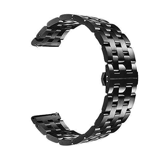 VIGOSS Cinturino di ricambio per smartwatch Samsung Gear S3Frontier e S3 Classic, 22mm, nero, in solido acciaio inossidabile, con fibbia a farfalla, maglia a 7anelli, con clip 3- Metal Black 5 beads