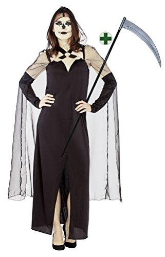 (Karneval-Klamotten Sensenmann Kostüm Damen Gevatter Tod Henker Grim-Reaper Halloween Sensenfrau Damen-kostüm MIT Sense Größe 36/38)