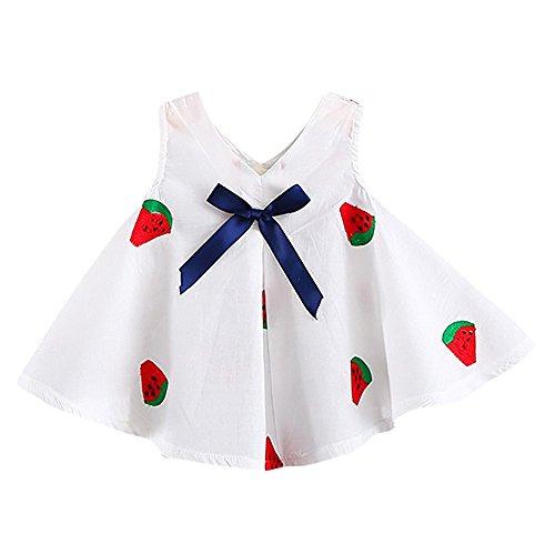 YWLINK MäDchen-Blumenkarikatur-Druck Elegant V-Ausschnitt Bowknot Obst Wassermelone PflaumenblüTe Pflanze Sommer ÄRmellos Party Weste Kleid Stickerei-Kleid Neugeborenes (Rot,Größe: 12M)