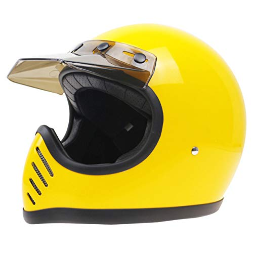 Retro Racing Reithelm Motorradhelm Fiberglas Case Rugged Safety gelb L