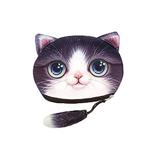 Chinget Niedlich Katze Form Mit Lanyard Geldbörse Geldtasche Polyester Geldbeutel Münzen Beutel Portmonee (B)