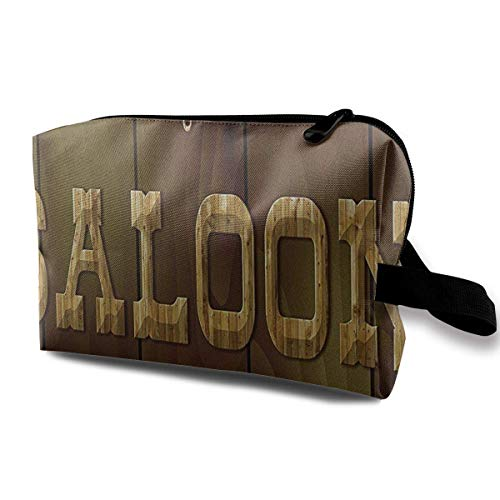 Reise-hängende Kosmetiktaschen Saloon Wooden Board Multi-Functional Toiletry Makeup Organizer Cosmetic travel Bag