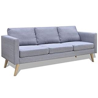 vidaXL Sofa 3 Sitzer Stoff Hellgrau Lounge Polstersofa Loungesofa Sitzmöbel