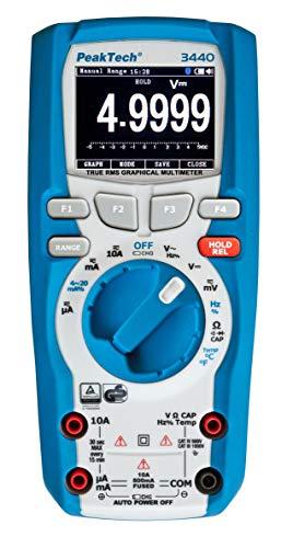PeakTech 3440 - True RMS Digital Multimeter mit 4.0 Bluetooth & Grafik-Display, 50000 Counts, Profi-Handmultimeter, TÜV/GS, Autorange, Spannungsmesser, Durchgangsprüfer, Messgerät - CAT III 1000V Display Digital Multimeter